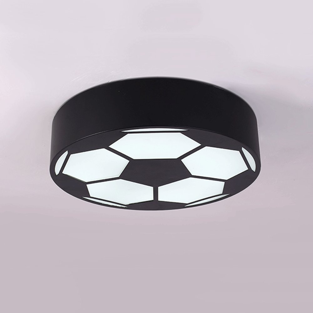 Cartoon LED Soccer Children's Room Chandelier Creative Bedroom Lights Early Education Round Warm Kindergarten Playground Lighting ( Color : Black )