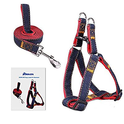 Dog Leash Harness, ARIKON Adjustable and Heavy Duty Durable Denim Dog Leash Collar for Training Walking Running, Best for Large Medium Small Dog