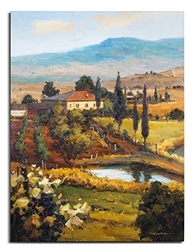 - Arari Fine Art Giclee Prints on Canvas Oil Painted Printing / Hand Enhanced Giclee / Art Work For Wall Décor 24x36 - Tuscany landscape