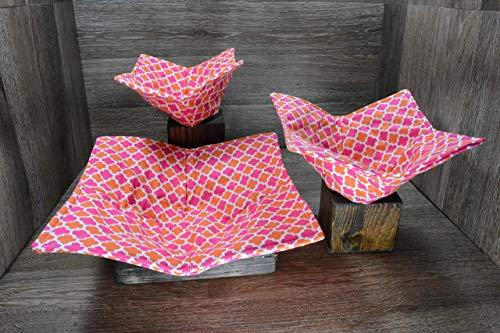 Set Sherbert (Microwave Bowl Cozies // Set of 3 // 1 Small Bowl Cozy // 1 Medium Bowl Cozy // 1 Dinner Plate Cozy // Summer Sherbert)