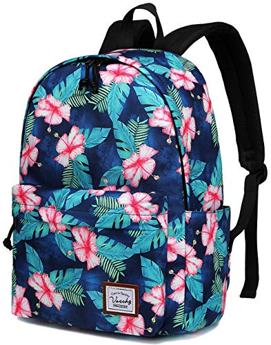 Flower Backpack for Women,VASCHY Water Resistant High School Girls Bookbag Travel Backpack for Teens with Water Bottle Pockets in Turquoise Floral