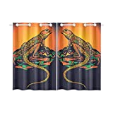 InterestPrint Blackout Window Curtains Ornate Lizard Reptile Room Bedroom Home Living Short Curtains 52X39 Inch