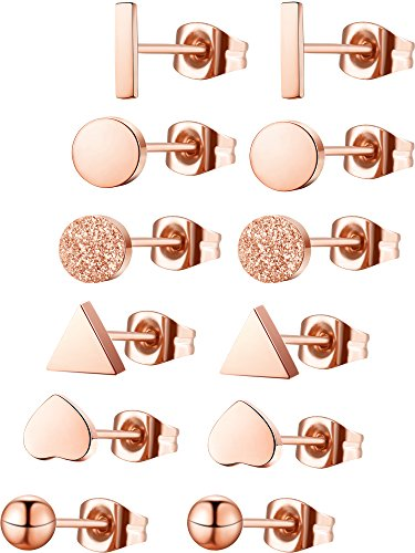 Hestya 6 Pairs Heart Triangle Rectangle Circle Frosted Circle Sphere Plated Stud Earrings Mini Bar Earring for Women Girls (Rose Gold)