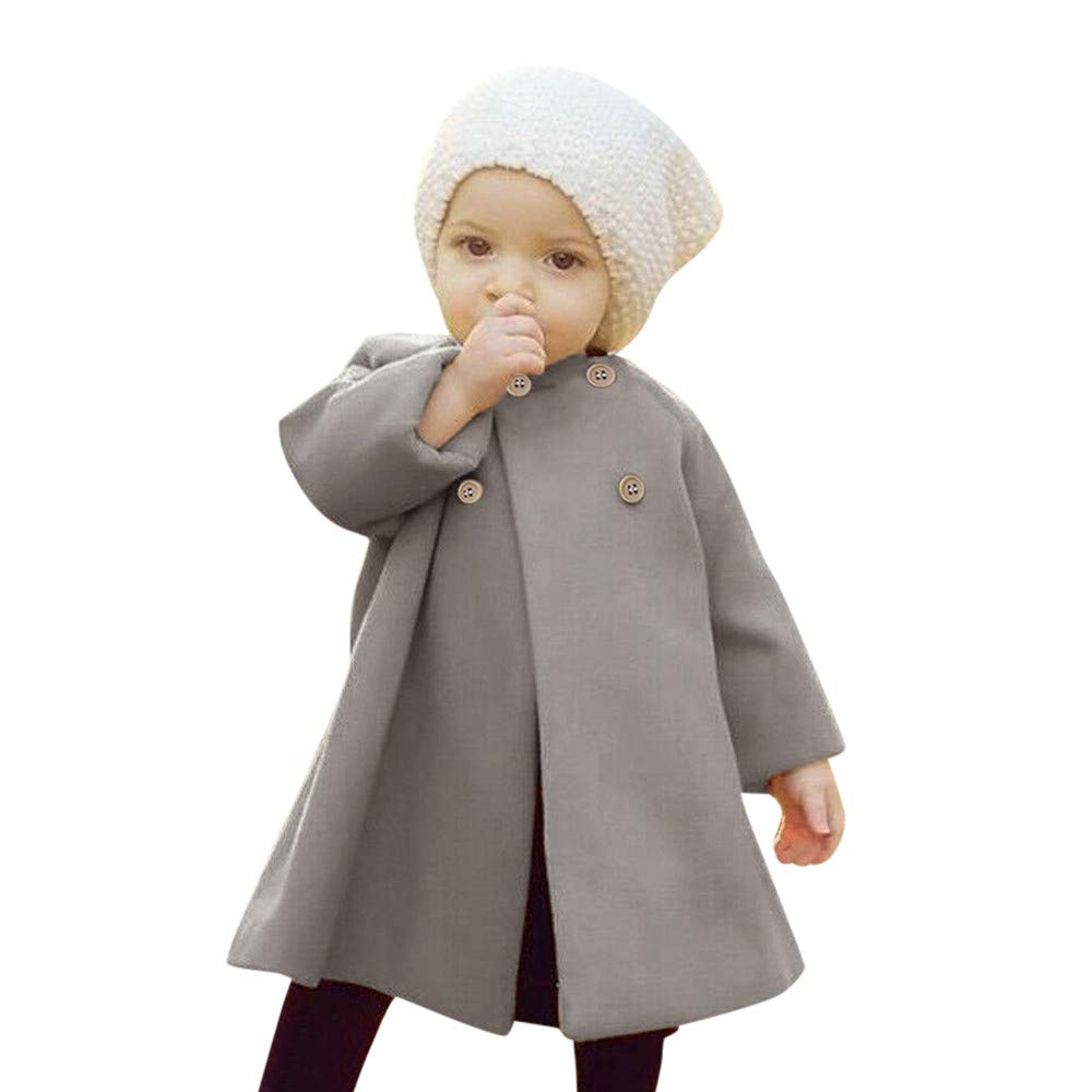 Mounter Baby Girls Cloak Button Jacket Autumn Winter Warm Coat, Kids Baby Outwear Clothes Windbreaker Overcoat Thick Warm Clothes(3M-5Y)