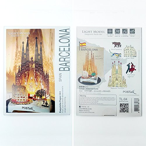3D Pop Up Greeting Souvenir Cards, POSTALK Barcelona Travel Creative Cards Paper Craft with USB Lighting Module for Birthday, Mother's Day, Wedding, Valentine's Day, Father's Day, Children's Day Gifts by Postalk (Image #6)