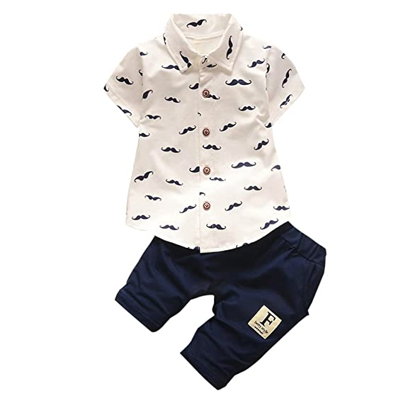 Covermason Conjunto de Bebé Niño, Barba Impresión Mangas Corta Camisa y Pantalones para 0-24M