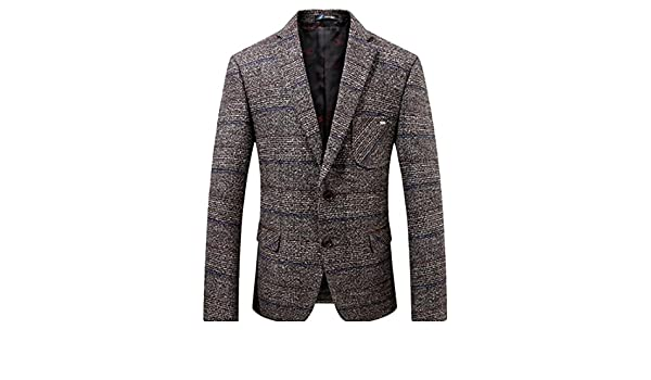 XXBlosom Mens Classic Fit Overcoat Single-Breasted Stand Collar Wool-Blended Pea Coat