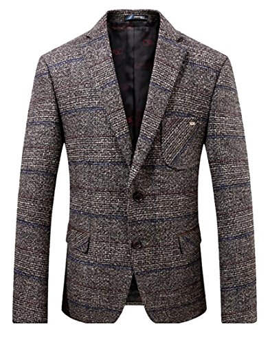 ainr Mens Herringbone Wool Blazer Jacket with Elbow Patches 1 S