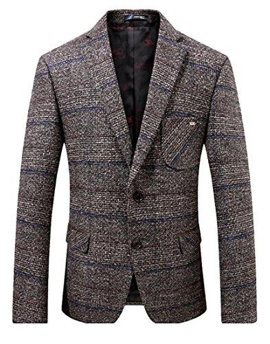 Herringbone Belted Jacket (ainr Mens Herringbone Wool Blazer Jacket with Elbow Patches 1 M)