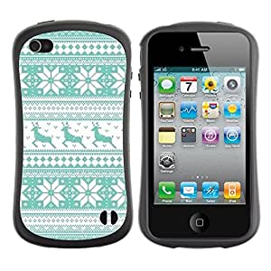 Fuerte Suave TPU GEL Caso Carcasa de Protección Funda para Apple Iphone 4 / 4S / Business Style Pattern Teal Reindeer Winter Knit