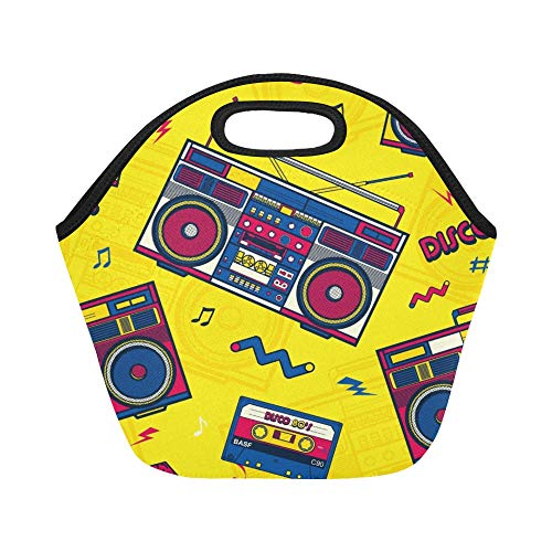 Boxes Lunch 80s (Insulated Neoprene Lunch Bag Retro Pop Eighties Boombox Radio Large Size Reusable Thermal Thick Lunch Tote Bags For Lunch Boxes For Outdoors,work, Office, School)