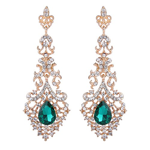 BriLove Wedding Bridal Dangle Earrings for Women Crystal Hollow Teardrop Chandelier Earrings Emerald Color Gold Toned