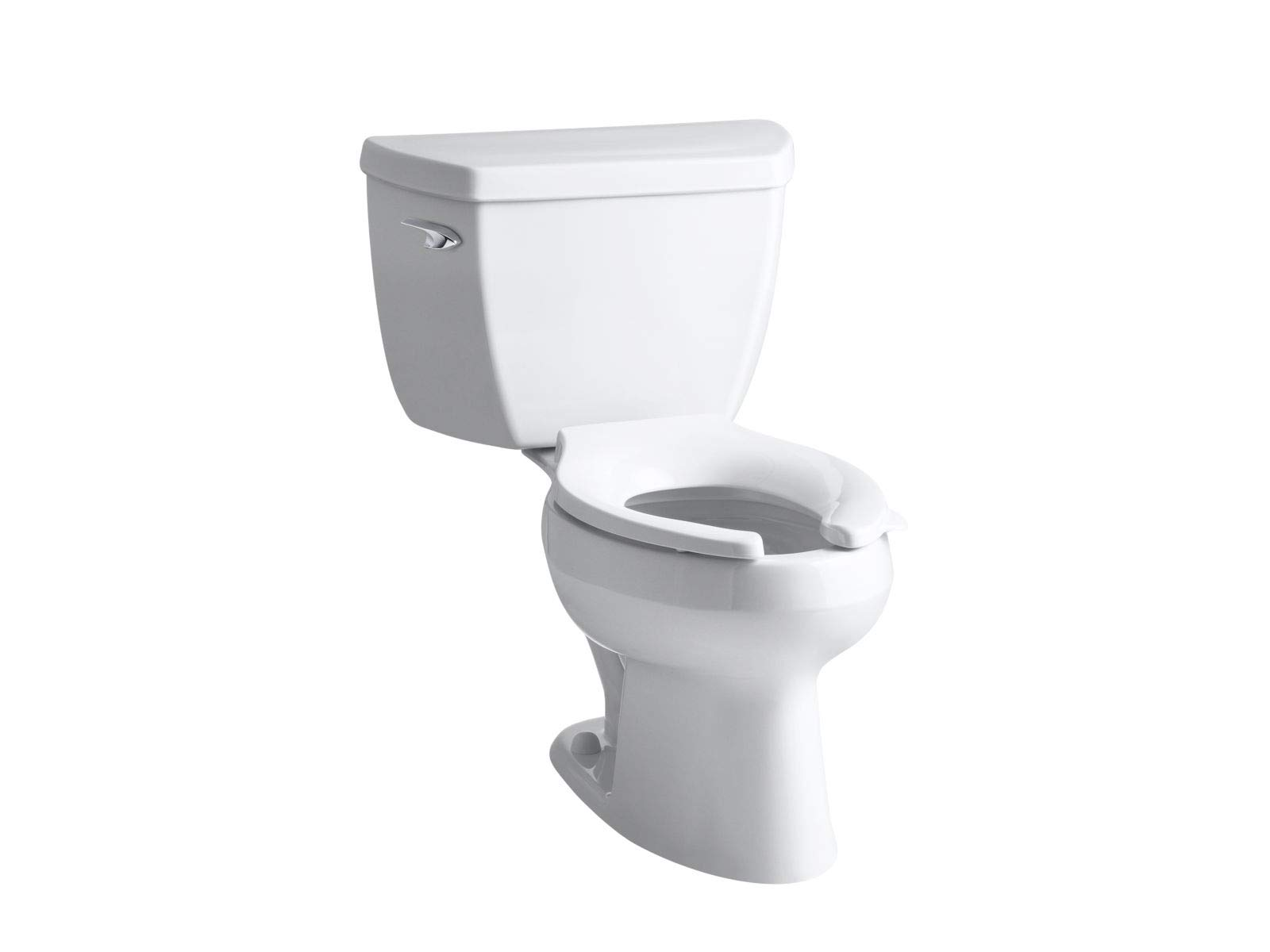 Kohler K-3531-0 Wellworth Pressure Lite Elongated 1.0 gpf Toilet with Left-Hand Trip Lever, Less Seat, White by Kohler