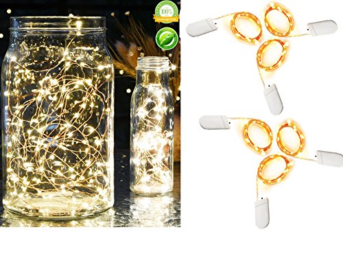Pack of 6 Sets Fairy Lights Battery Operated Firefly String Little Lights 7.2 Feet 20 LEDs Copper Wire Starry Lights Decorative For Wedding Centerpieces Mason Jars Bedroom and (Led Mason Jar Lights)