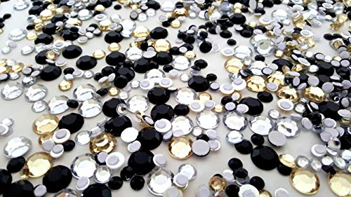 Dondor Assorted Self Adhesive Gem Stickers (Assorted Round Sizes, Black, Gold, Clear - 100 Gram Bag!)