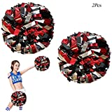 CREATIEE-PRO 2Pcs Metallic Cheerleading Pom Poms, 1 Pair Cheerleader Cheering Squad Pompoms for Kids Boy Girl Adults School Sports Games Team Spirit Cheer Dance Party(6 Inches)