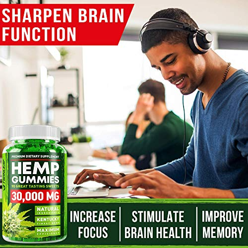 51YVpThMVBL - Hemp Gummies - 30000 MG - Premium Stress & Anxiety Relief - Made in USA - 100% Natural & Safe Oil Gummies - Mood Enhancer & Immune Support - Rich in Vitamins B, E & Omega 3 - 90 PCS