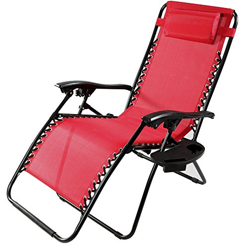 Sunnydaze Outdoor XL Zero Gravity Lounge Chair with Pillow and Cup Holder, Folding Patio Lawn Recliner, Red (Chair Pillows Lounge)