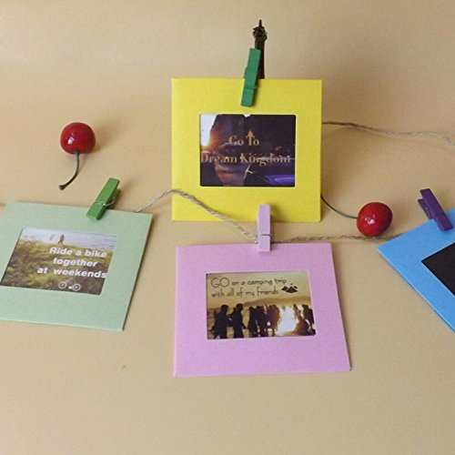 Paper Po Frame - 10pcs Lot 3 Inch Colorful Diy Wall Hanging Cute Paper Photo Frame With Rope Wood Clip - Frame Color Frame Photo Frame Wallpaper Frame Chrysanthemum Usb Pictur Dog Wooden Fr