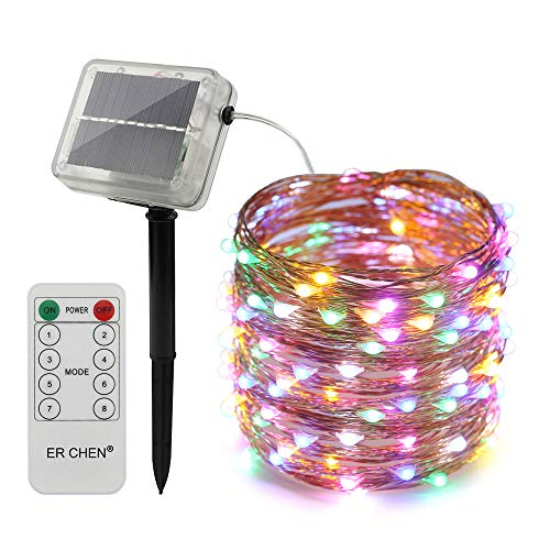 ErChen Remote Control Solar Powered Led String Lights, 66FT 200 LEDs Copper Wire Waterproof 8 Modes Decorative Fairy Lights for Outdoor Christmas Garden Patio Yard (Multicolor) ()