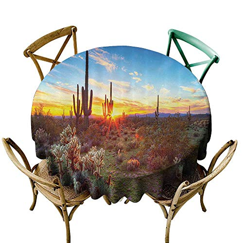 (Jbgzzm Dust-Proof Round Tablecloth Saguaro Cactus Decor Collection Saguaros Wildflowers in Sonoran Desert Scene Picture Print and Durable D63 Blue Yellow Orange)