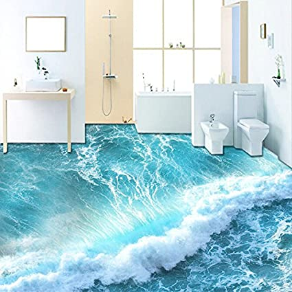 Buy Nostalagia Self Adhesive Floor Mural Wallpaper Modern Sea Wave - Bathroom tiles cheapest prices