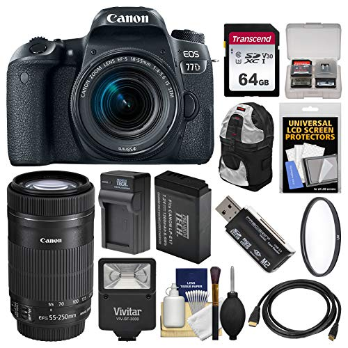 - Canon EOS 77D Wi-Fi Digital SLR Camera & EF-S 18-55mm with 55-250mm is STM Lens + 64GB Card + Backpack + Flash + Battery & Charger + Filter Kit