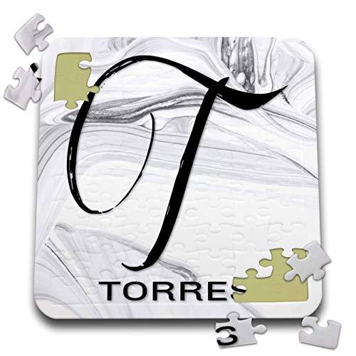 (3dRose BrooklynMeme Monograms - White Marble Monogram T - Torres - 10x10 Inch Puzzle (pzl_310114_2))