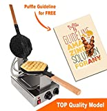 TOP Version Puffle Waffle Maker Professional Rotated Nonstick (Grill / Oven for Cooking Puff, Hong Kong Style, Egg, QQ, Muffin, Cake Eggettes and Belgian Bubble Waffles) (220V with EURO Plug)