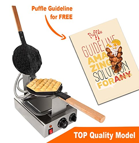 TOP Version Puffle Waffle Maker Professional Rotated Nonstick (Grill / Oven for Cooking Puff, Hong Kong Style, Egg, QQ, Muffin, Cake Eggettes and Belgian Bubble Waffles) (220V with EURO Plug) by ALD Kitchen Professional
