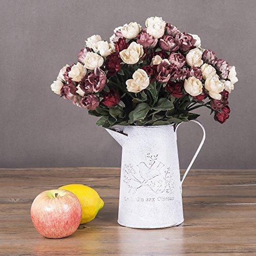 Glitz Star Artificial Flowers Rose Bridal Bouquet for Wedding Home Hotel Party Floral Decor ,4 Bundles - Red Medium Stem Rose Bouquet