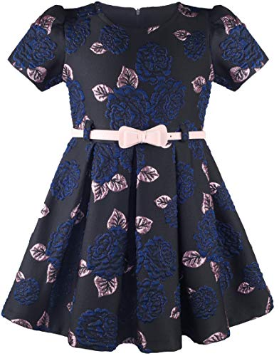 Lilax Little Girl Dress Flocked Occasion Party Toddler Dress with Belt 2T Navy