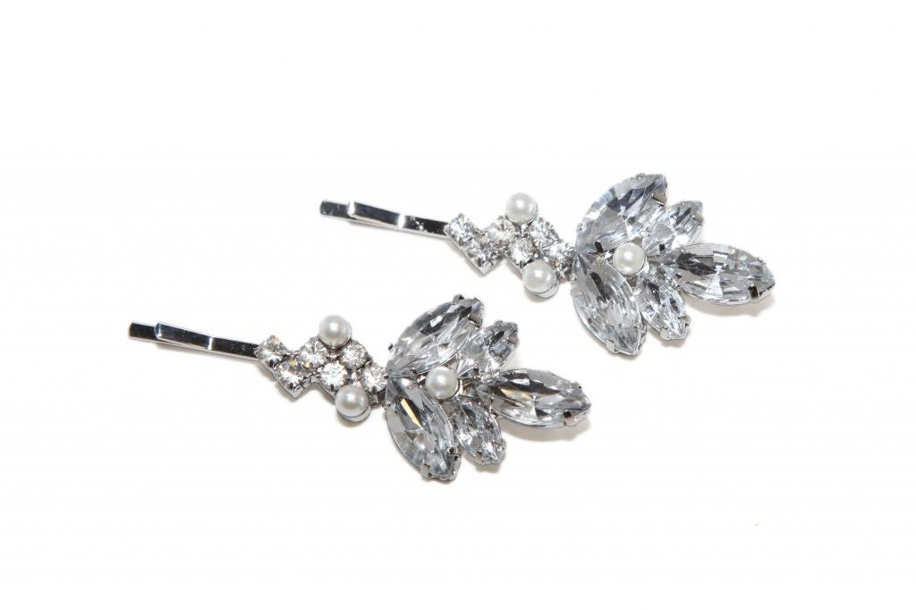 Lux Accessories Clear Flower Bridal Pave Imitation Pearl Hair Clip Bobby Pin. (2 Pc) by Lux Accessories