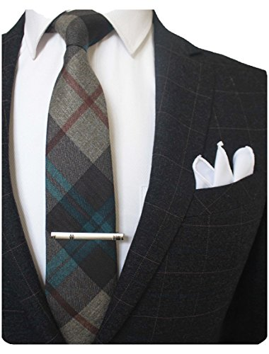 JEMYGINS Stripe Cashmere Wool Necktie and Pocket Square, Hankerchief Tie Clip Sets for Men(4) ()
