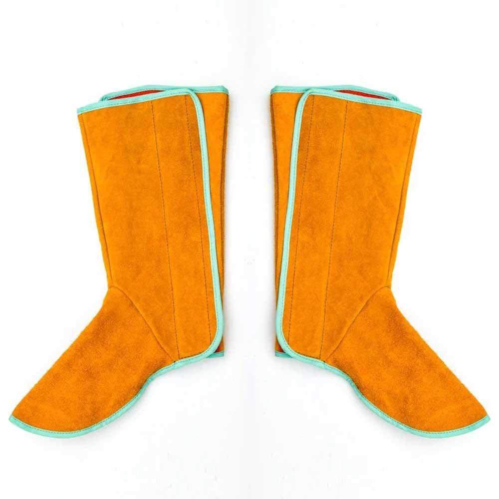 AOLVO Soudure Spats, Cuir de Soudure Pied Coque Ignifugation Boot Cover Soudeur ignifuges Jambe Chaussures Protection Soudeur Anti-scalding Pieds Coque Soudeur Outil de Travail