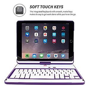 iPad Air 2 Keyboard, Snugg [Purple] Wireless Bluetooth Keyboard Case Cover 360° degree Rotatable Keyboard for Apple iPad Air 2