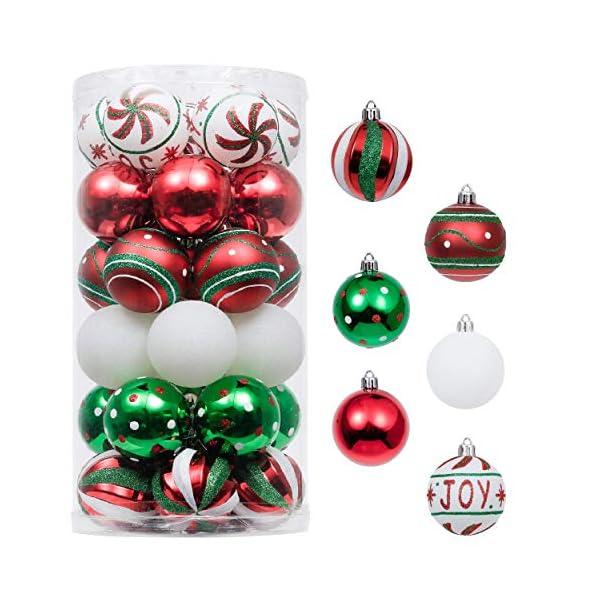 Valery Madelyn Palle di Natale 30 Pezzi 6cm Palline di Natale, Collezione Classica Rosso Verde e Bianco Infrangibile Ornamenti di Palla di Natale Decorazione per la Decorazione Dell'Albero di Natale 1 spesavip
