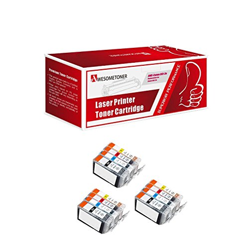 Awesometoner 12 Pack. Compatible Cartridges for Canon BCI-3e and BCI-6. Includes Cartridges for 3ea BCI-3e Blac/ 3ea BCI-6 Cyan/3ea BCI-6 Magenta/3ea BCI-6 Yellow.