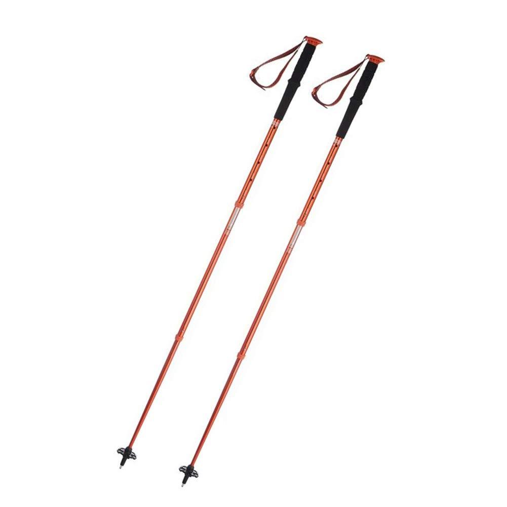 orange a pair Outdoor Trekking Pole, Carbon Fiber Outdoor Hiking Pole Retractable Ultralight Crutches Straight Shank Walking Sticks Black orange