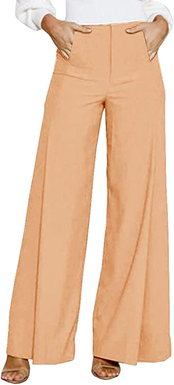 Fitfulvan Womens High Waist Slim Stretch Pants Solid Loose Wide Long Trousers Flowing Palazzo Pants