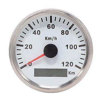mit Hintergrundbeleuchtung Motorr/äder 85/mm Wasserdichter GPS-Tacho-Kilometerz/ähler 12/V//24/V Anzeige bis 120 km//h f/ür Autos LKW