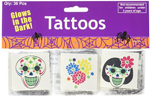 [Day of the Dead Glow in the Dark Tattoos] (Day Of The Dead Party Supplies)