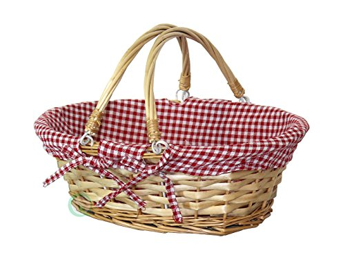 Vintiquewise(TM) Oval Willow Basket with Red White Plaid Lining and Handles ()