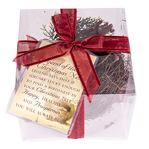 Cottage Garden Legend of The Christmas Nest Tree Ornament Nest - Gift Boxed with Ribbon and Tag (Christmas Birds In Tree Nest)