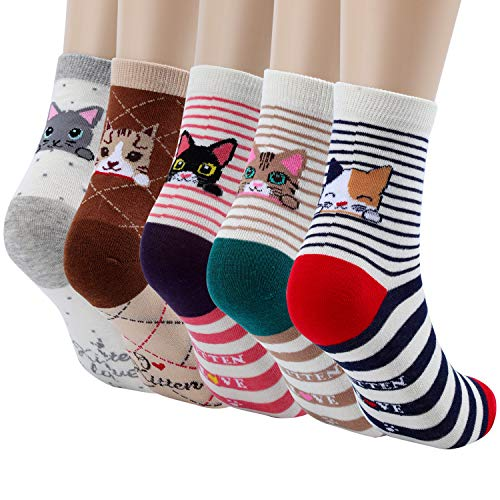 5 Pairs Women's Fun Socks Cute Cat Animals Funny Funky Novelty Cotton (Cat)