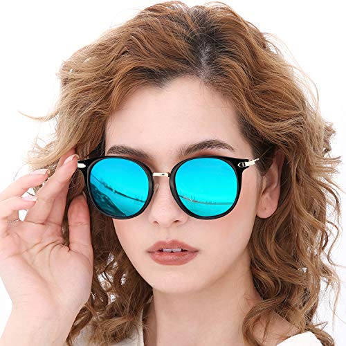 (TJUTR Fashion Polarized Sunglasses for Women, Vintage Round Eyewear Stylish Sun Glasses - UV400 for Driving Shopping (Black Frame/Blue Mirrored Round Lens))
