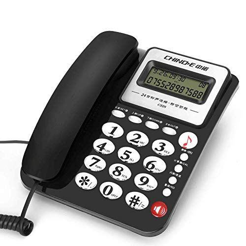 Fixed Telephone Home Fixed Telephone Office Hotel Room Wired Telephone Hands-Free Calling Telephone Transfer Dual Access Port Black White Blue Red (Color : Black) from YQL
