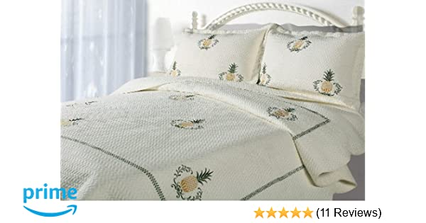 Amazon Casual Living Pineapple Embroidered Quilt And Sham Set Full Queen Home Kitchen