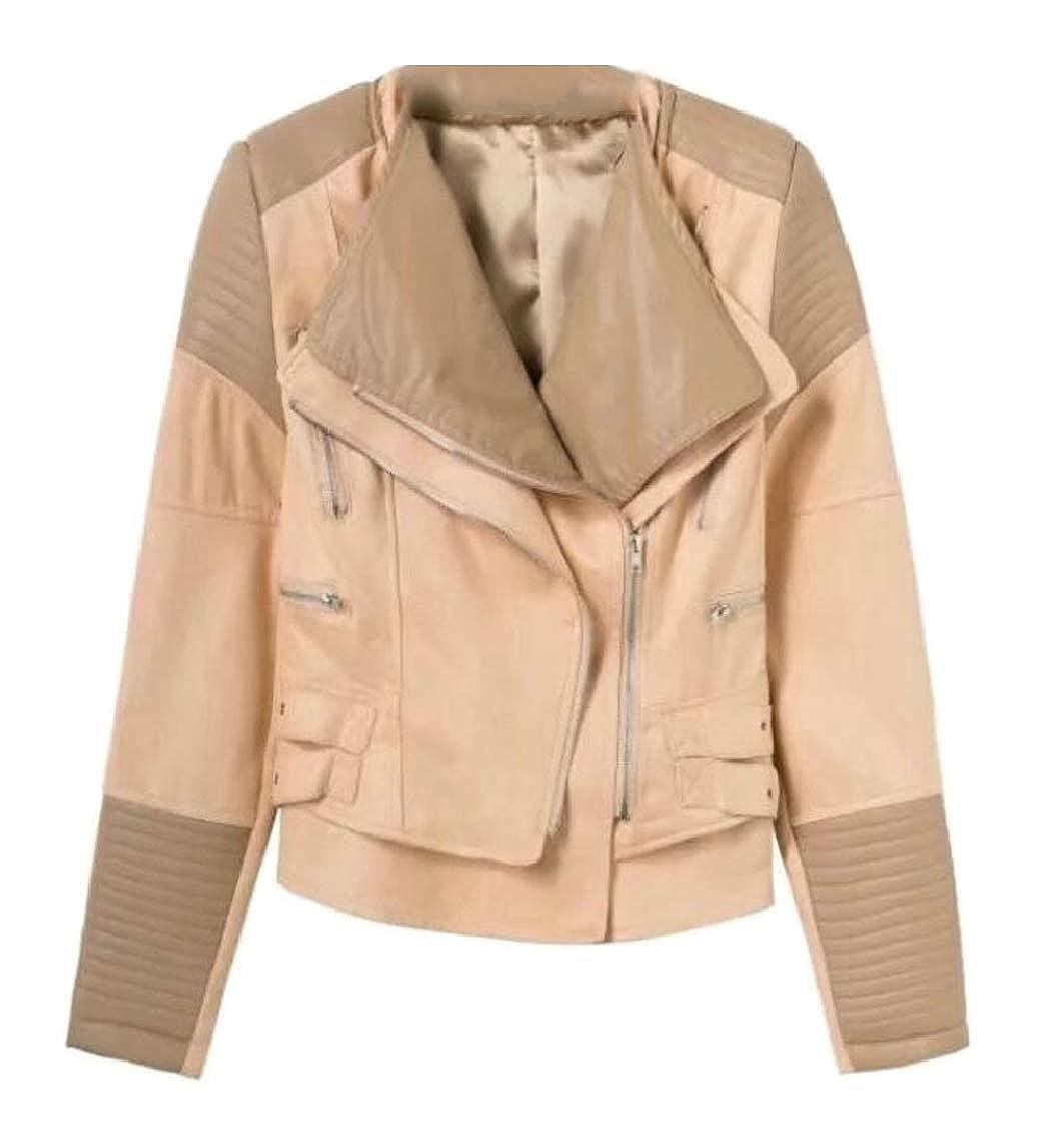 1 Sanderso Women's Short Lapel Slant Zipper Faux PU Leather Jacket Moto Biker Coat
