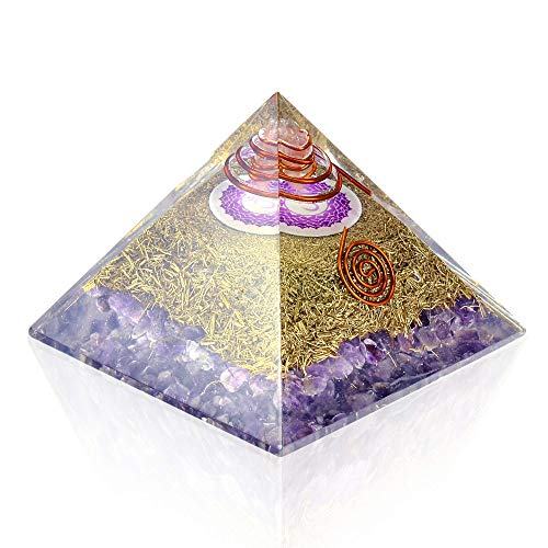 Orgone Pyramid Energy Generator - Crown Chakra Symbol Orgonite Amethyst Crystal Pyramid with Brass Metal for EMF Protection - Chakra - Crowns Casting Media